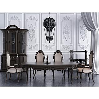 欧式实木雕花餐桌椅餐吊灯组合3d模型3d模型