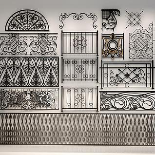 镂空铁艺雕花围栏3d模型