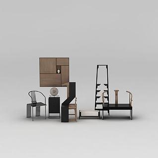 新中式客厅椅子边柜组合3d模型