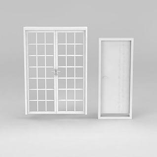 白色方格木门推拉门3d模型