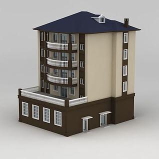 欧式四层别墅3d模型