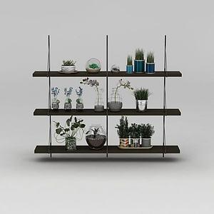 木質多層花架模型3d模型