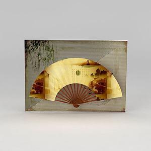 折扇背景墙模型