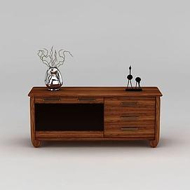 实木玄关边柜3d模型