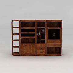 实木博古架书柜模型3d模型
