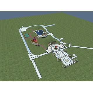 中庭景观3d模型