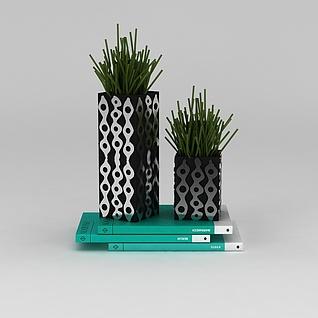 办公室装饰绿植和书3d模型