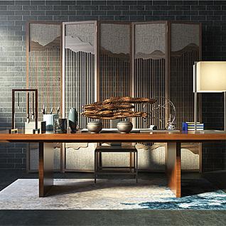 复古中式书房书桌椅屏风组合3d模型3d模型
