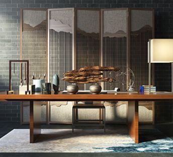 复古中式书房书桌椅屏风组合
