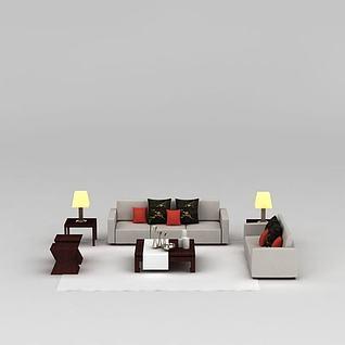 象牙色简约组合沙发3d模型