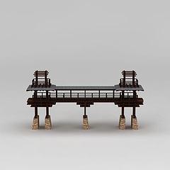 中式园林景观桥模型3d模型