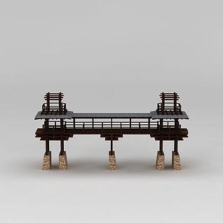 中式园林景观桥3d模型
