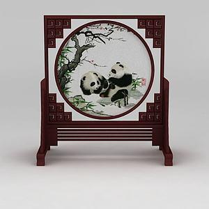 3d中式<font class='myIsRed'>熊貓</font>嬉戲屏風模型