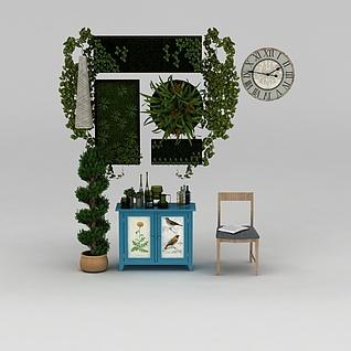 椅子餐边柜绿植装饰品组合3d模型