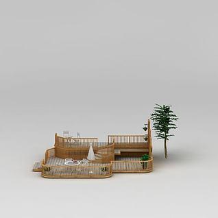 休闲小花园3d模型