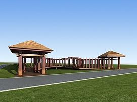 公园休息亭3d模型