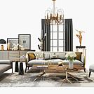 现代客厅沙发茶几组合模型