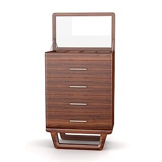 现代实木四斗柜3d模型