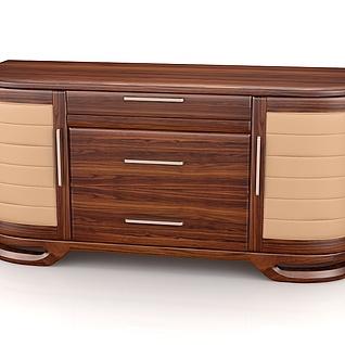 胡桃木电视柜3d模型