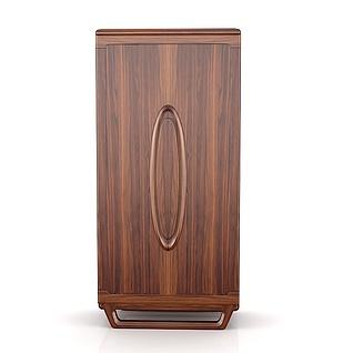 简约实木两门衣柜3d模型