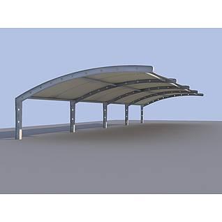 膜结构车棚3d模型