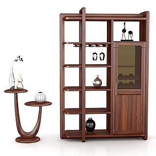 高档实木间厅柜花架3d模型