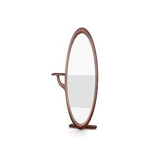 高档实木穿衣镜3d模型