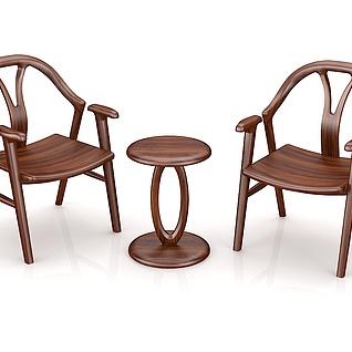 北欧实木休闲桌椅3d模型
