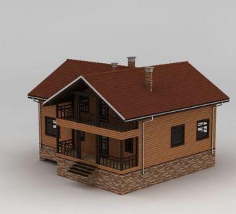 美式二层木屋
