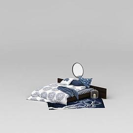 卧室矮床及床上用品3d模型