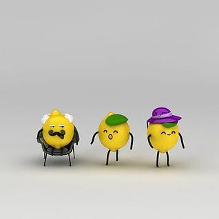 柠檬人卡通摆件3d模型