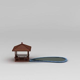 木质休息方亭3d模型