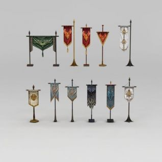 古代旗帜3d模型