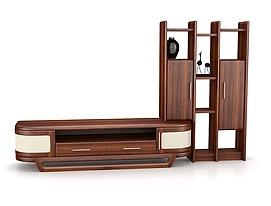 客厅实木厅柜组合3d模型