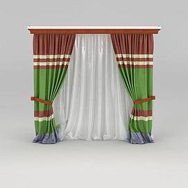 美式双层窗帘模型