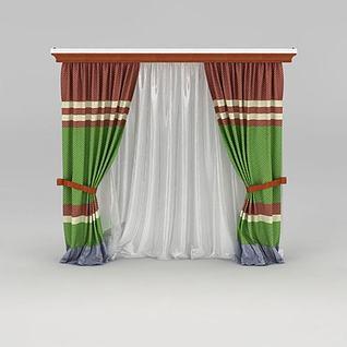 美式双层窗帘3d模型