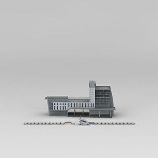 现代灰色大门3d模型