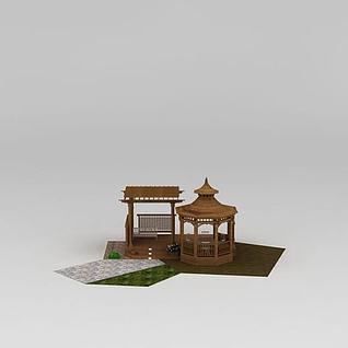 园林花园休息亭3d模型