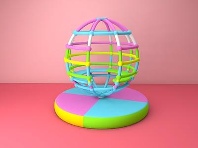C4D兒童游樂設備<font class='myIsRed'>地球</font>儀模型