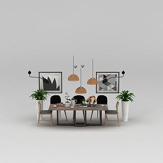 北欧餐厅餐桌椅3d模型