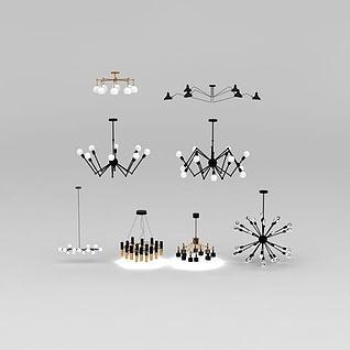 北欧现代创意吊灯组合3d模型3d模型
