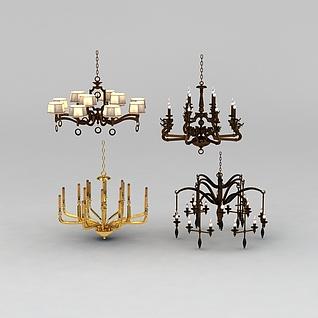 中式吊灯组合3d模型