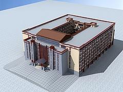 藏式大型酒店模型3d模型