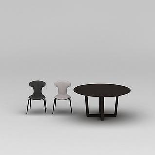 简约实木餐桌椅3d模型