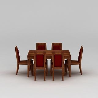 中式实木餐桌椅3d模型