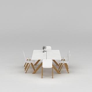 简约风餐厅桌椅组合3d模型