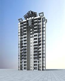 中式高层住宅3d模型