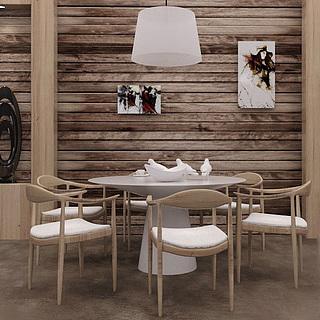 北欧餐厅餐桌椅组合3d模型