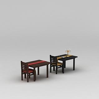 乡村田园餐厅桌椅组合3d模型