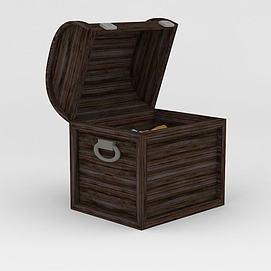 木头宝箱3d模型